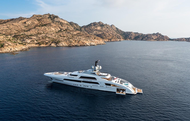 Photo wallpaper sea, mountains, yacht, white, yacht, yachts, landscape., mega, luxury, superyacht, mega yacht, galactica star