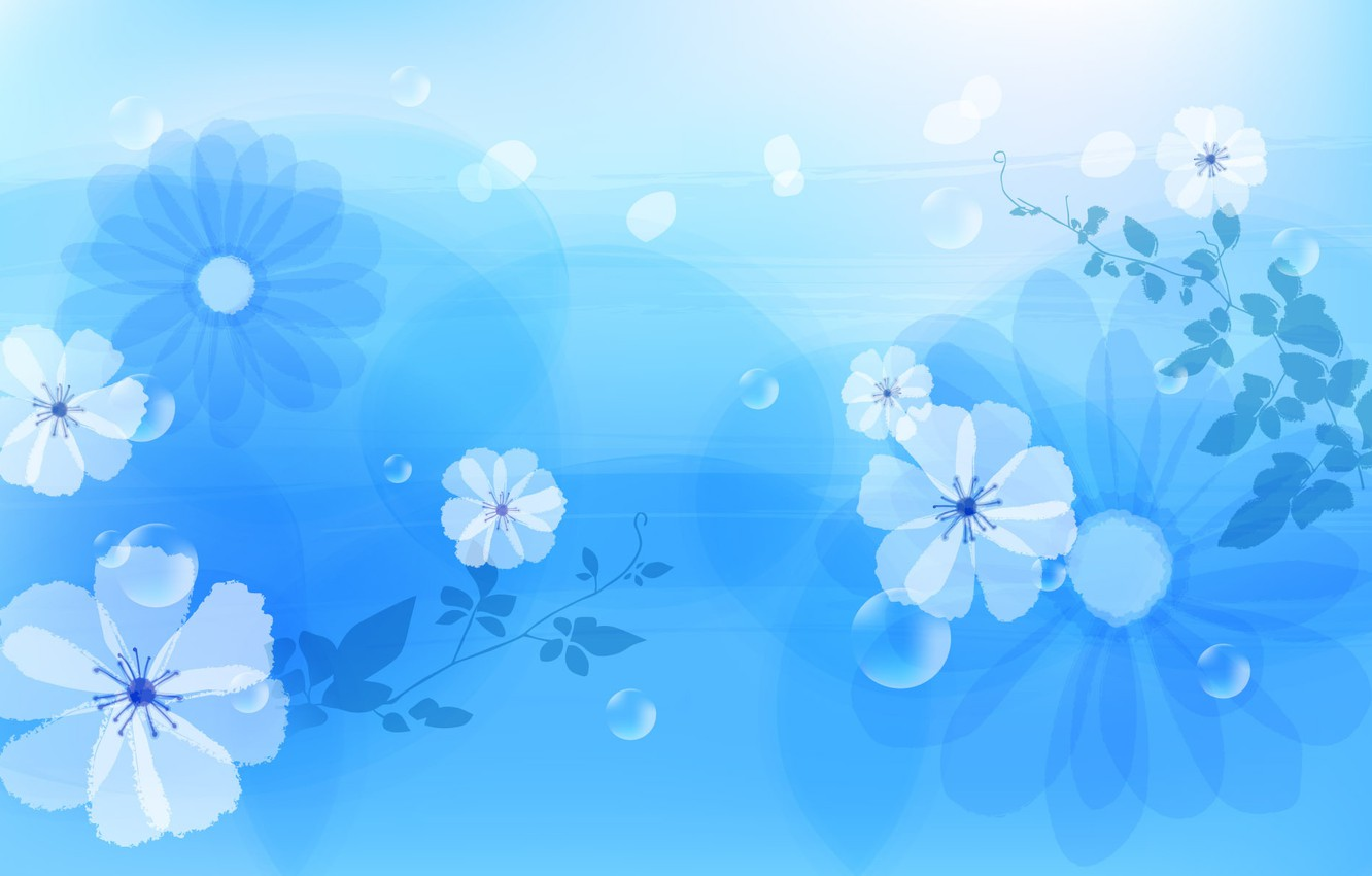Photo wallpaper flowers, abstraction, blue, flower, design, abstact