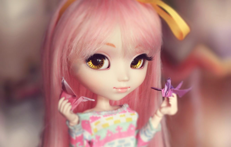 Photo wallpaper doll, origami, big eyes