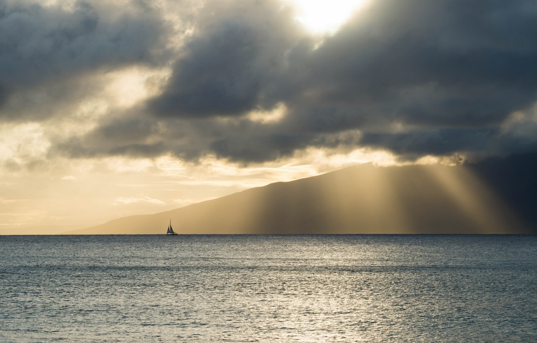 Photo wallpaper sea, landscape, boat