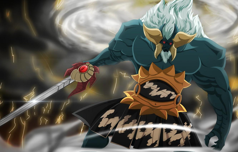 Photo wallpaper sword, game, storm, armor, sky, big, lightning, God of War, anime, cloud, lion, ken, blade, …