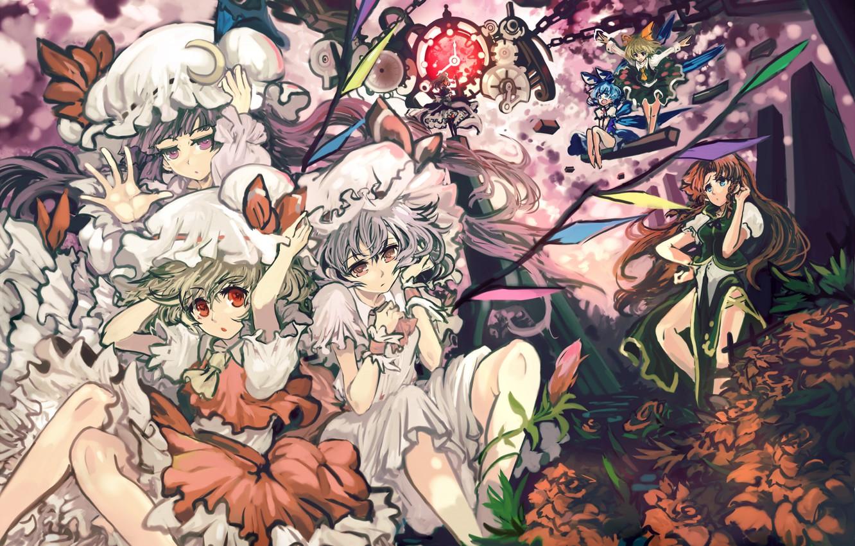 Photo wallpaper flowers, girls, mechanism, wings, chain, touhou, remilia scarlet, izayoi sakuya, hong meiling, flandre scarlet, Touhou, …