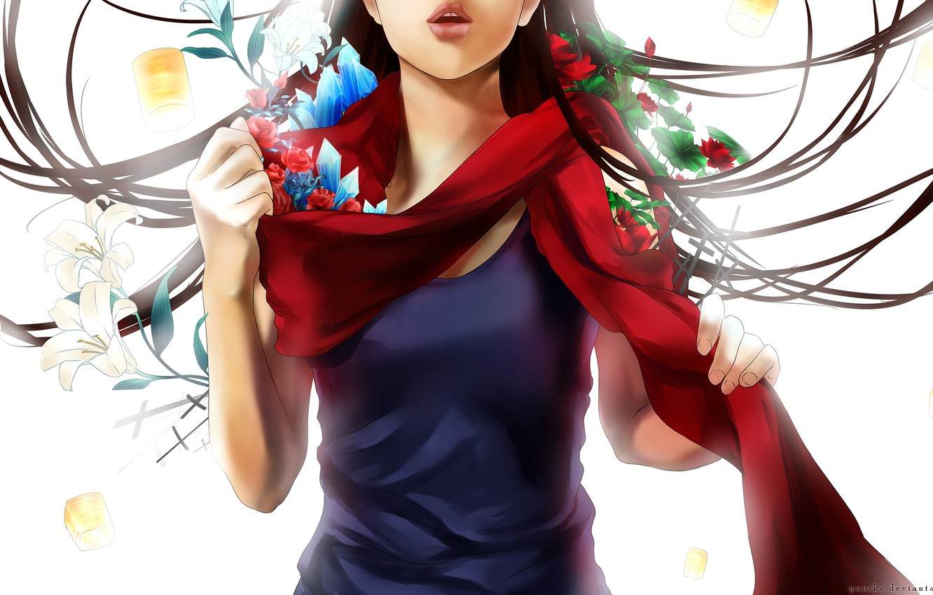 Photo wallpaper leaves, girl, flowers, anime, scarf, art, crystals, yuuike