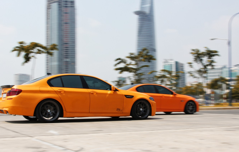 Photo wallpaper BMW, Orange, Speed, Matte, Tuning, F10