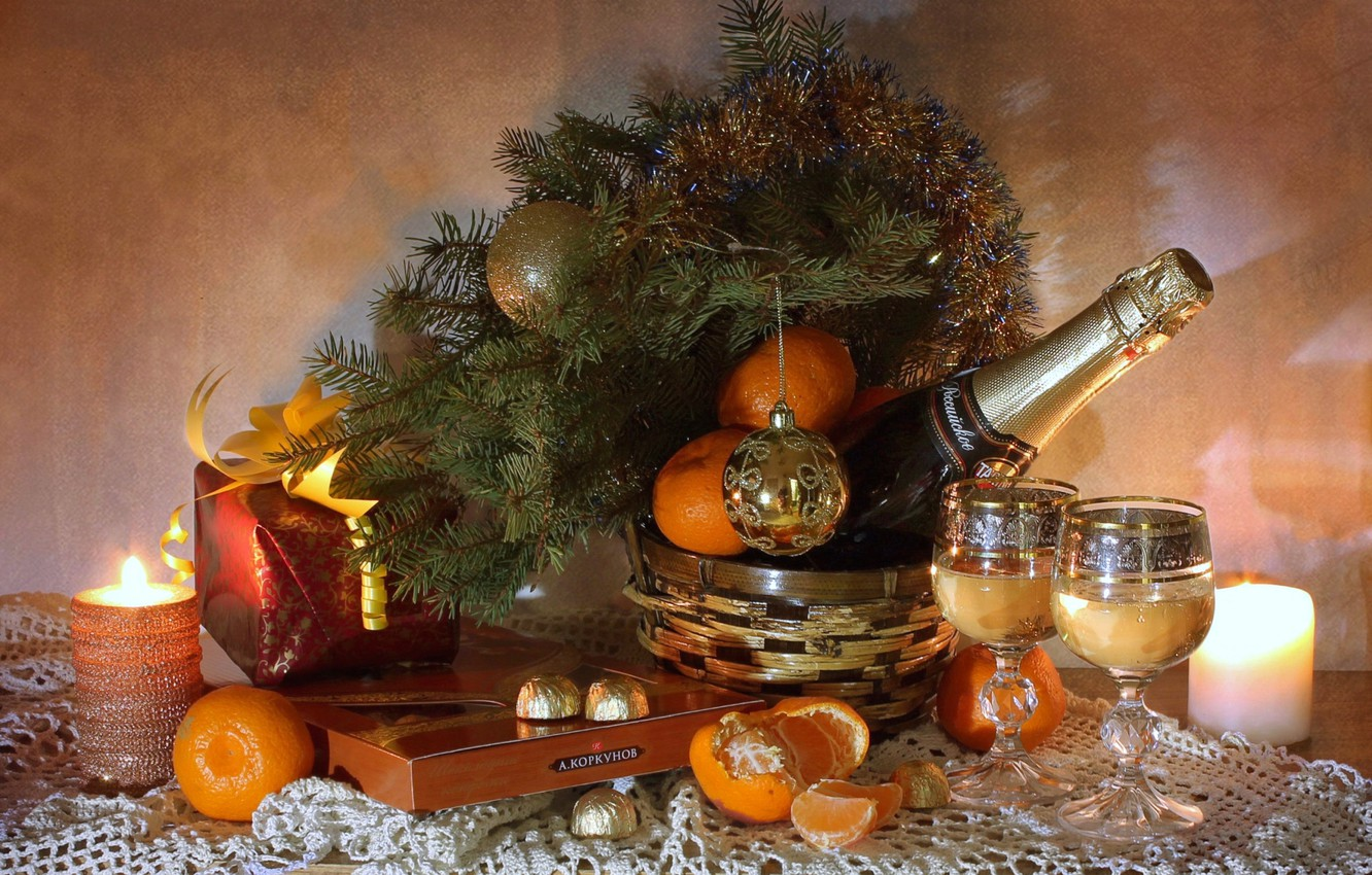 Photo wallpaper gift, tree, candles, glasses, candy, champagne, tangerines