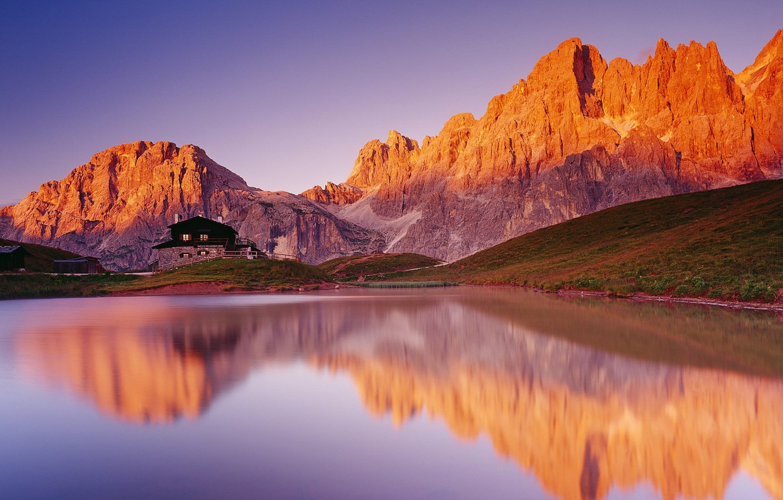 Photo wallpaper mountains, lake, house