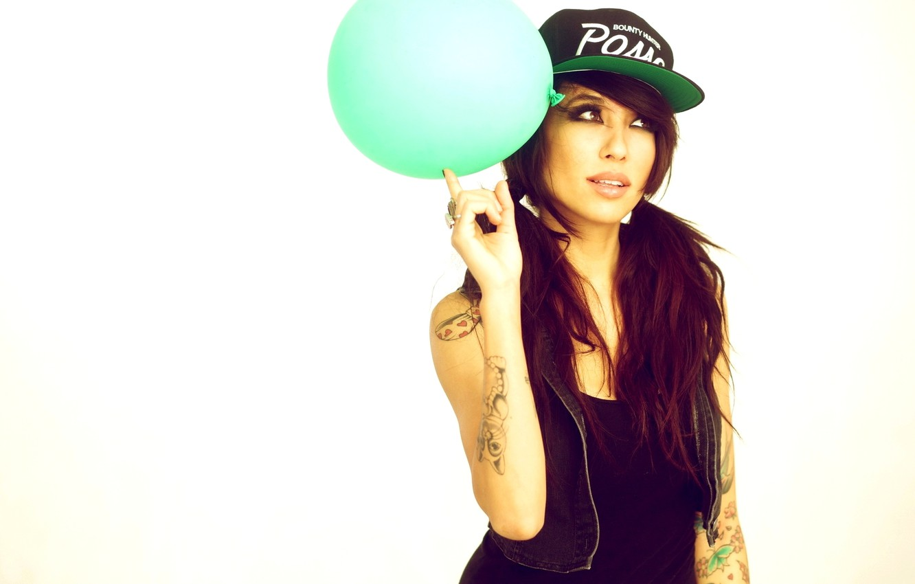 Photo wallpaper Girl, White, Face, Hands, Ball, Background, Brunette, Tattoo, Ring, Tattoo, Cap, Alie Laius, Vest, Hairstyle