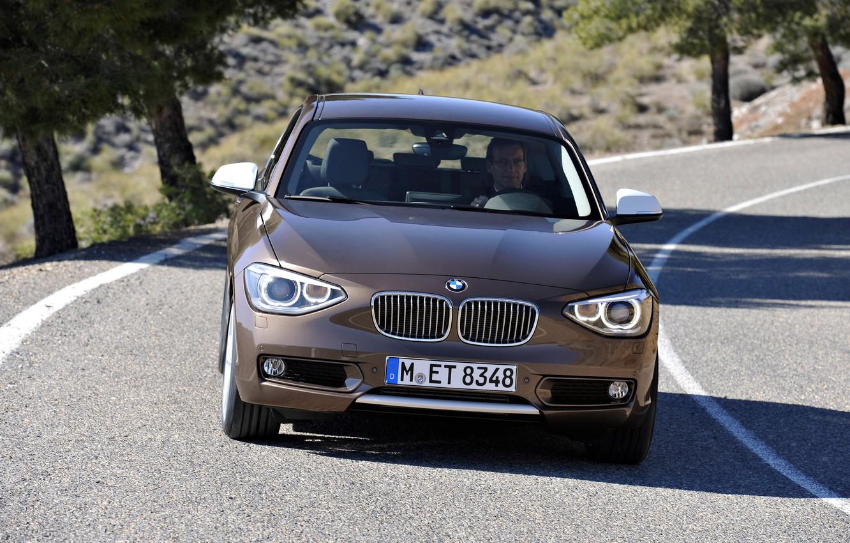 Photo wallpaper BMW, road, trees, driver, BMW 1