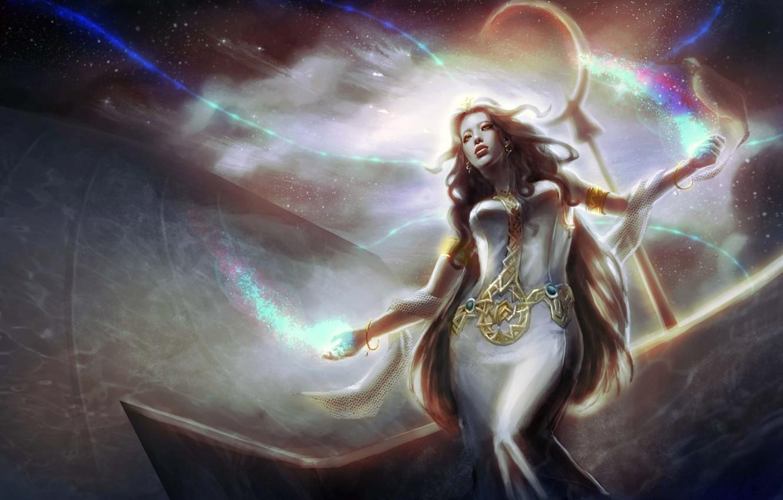 Photo wallpaper girl, space, magic, art, IMMAR