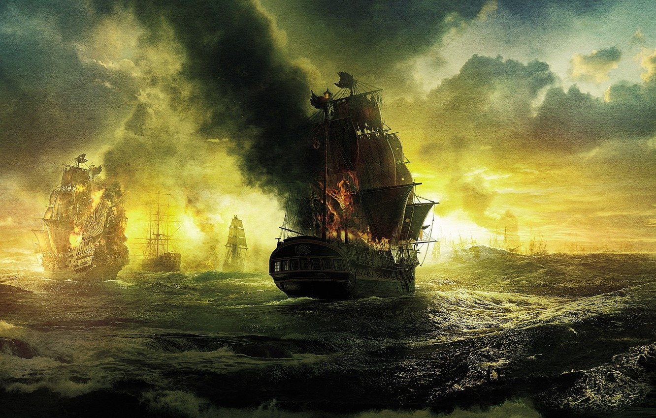 Photo wallpaper sea, wave, clouds, fire, ships, sails, Pirates of the Caribbean, Pirates of the Caribbean, On …