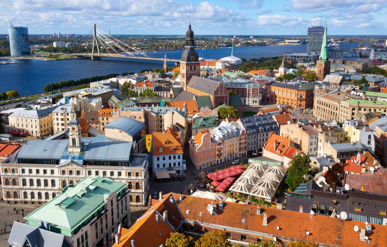 Photo wallpaper bridge, river, home, street, Riga, Latvia