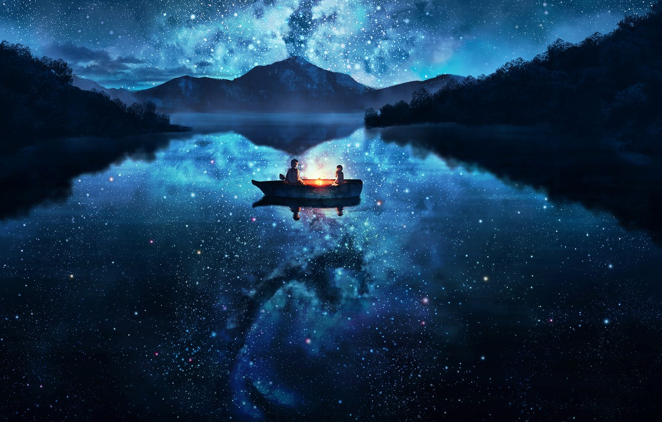 Photo wallpaper the sky, water, girl, stars, trees, mountains, night, nature, lake, reflection, boat, anime, art, guy, …