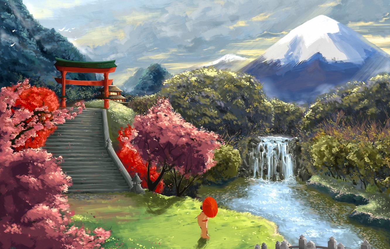 Photo wallpaper landscape, river, Asia, mountain, waterfall, umbrella, Sakura, art, geisha, ladder, the gates