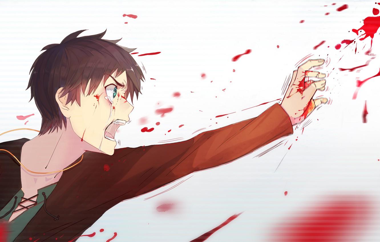 Photo wallpaper white, blood, tears, Shingeki no Kyojin, The invasion of the titans, Eren Jagger