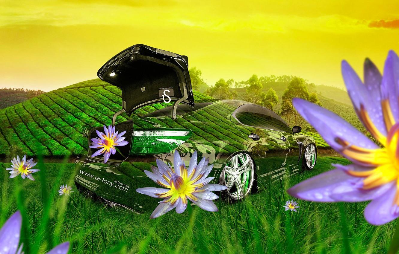 Photo wallpaper Flowers, Nature, Grass, Lexus, Style, Lexus, Wallpaper, Fantasy, Nature, Grass, Green, Photoshop, Photoshop, Green, Flowers, …