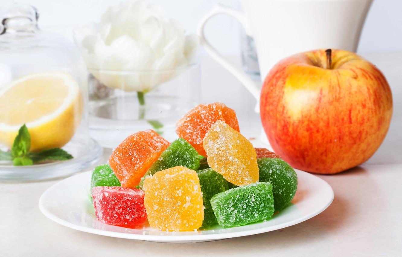Photo wallpaper lemon, apple, Apple, dessert, sweet, delicious, sweet, marmalade, jelly