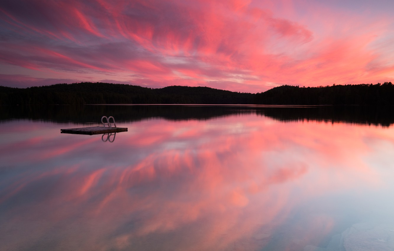 Photo wallpaper forest, the sky, clouds, trees, sunset, lake, Canada, Canada