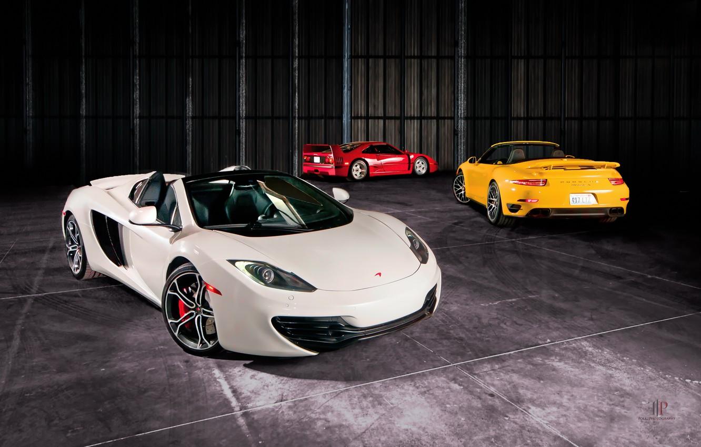 Photo wallpaper McLaren, MP4-12C, Spider, Cabriolet, Ferrari F40, Turbo S, Porsche 991