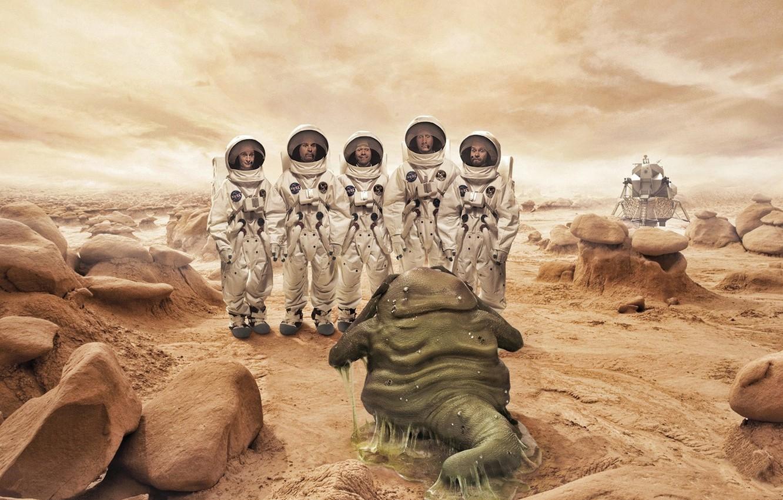 Photo wallpaper planet, being, kosmonavty