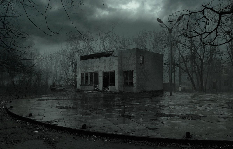 Photo wallpaper night, rain, Pripyat, Ukraine, pustosh