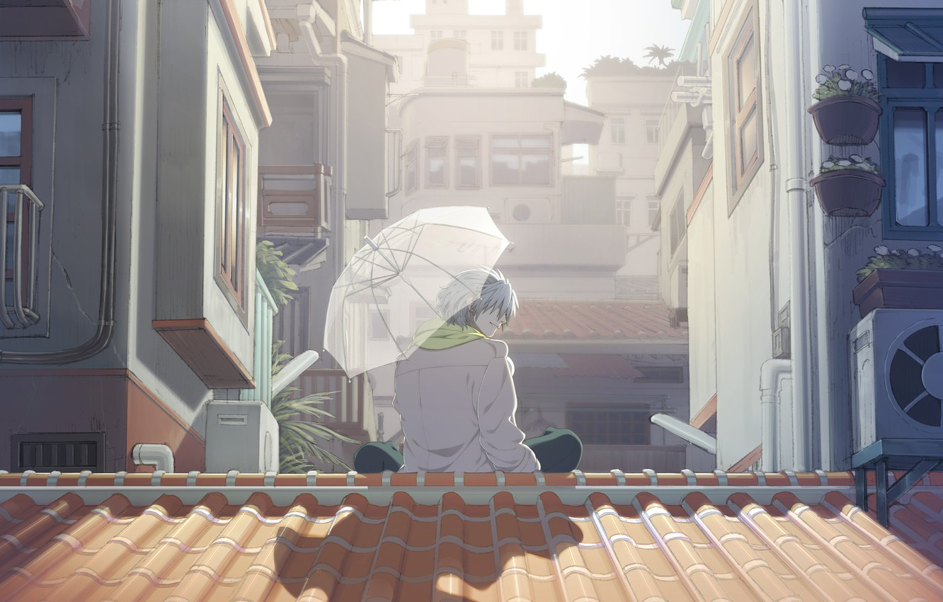 Photo wallpaper the city, umbrella, scarf, roof, guy, sitting, Sunny day, Clear, DRAMAtical Murder, the white cloak