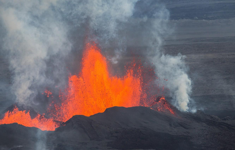 Photo wallpaper the sky, the volcano, the eruption, lava, Iceland, Bardarbunga