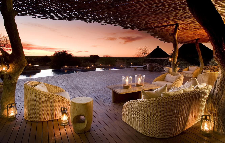 Photo wallpaper pond, view, the evening, veranda, wicker furniture