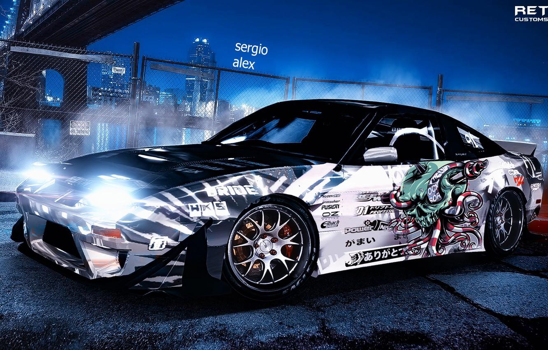 Photo wallpaper City, Nissan, Car, japan, Street, photoshop, 240sx, Stance, Nigth