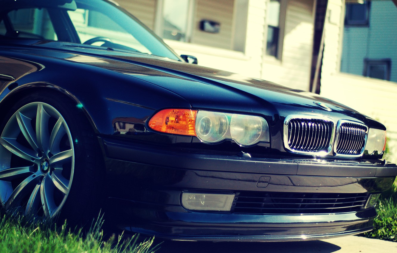 Photo wallpaper the hood, BMW, Boomer, BMW, Lights, front, bumper, Stance, E38, Bimmer, 750il