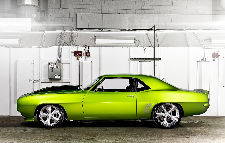 Photo wallpaper machine, green, Chevrolet, car, Rides Green Monster 31