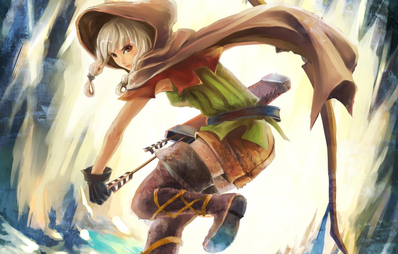 Photo wallpaper girl, bow, hood, cloak, arrows, quiver, dragon`s crown
