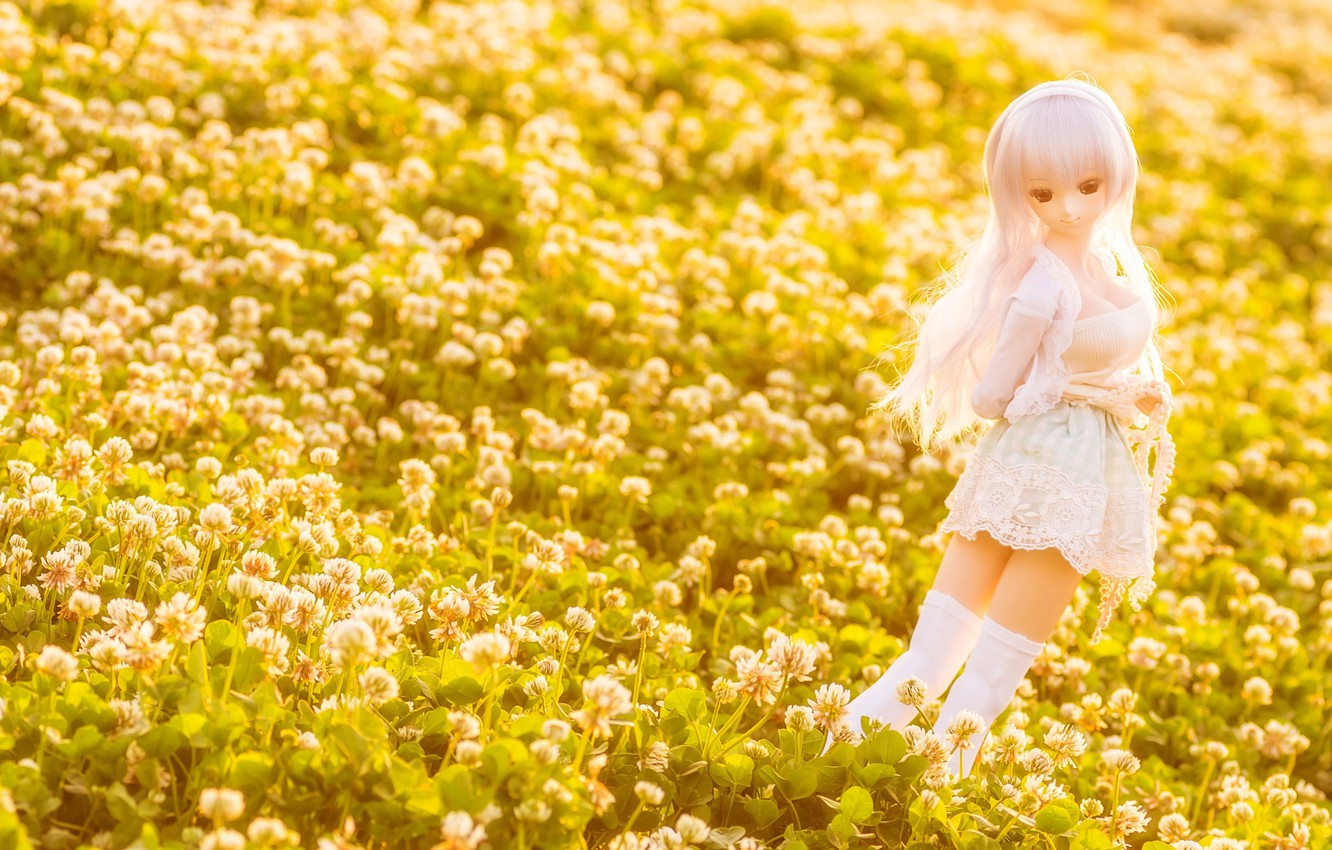 Photo wallpaper field, pose, toy, doll, clover, lilac, long hair