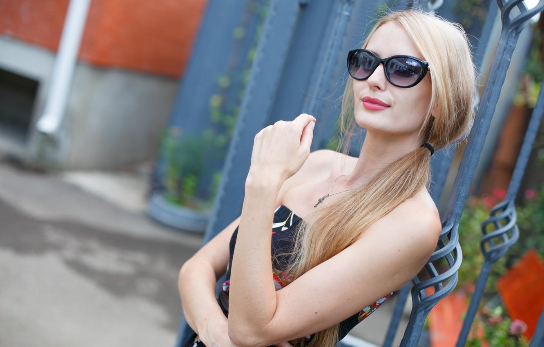 Photo wallpaper summer, girl, dress, glasses, blonde