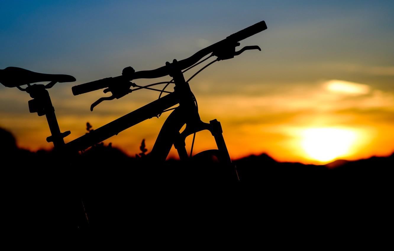 Photo wallpaper the sky, sunset, bike, silhouette
