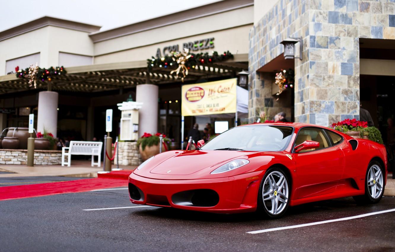 Photo wallpaper the city, F430, Ferrari, Red, Ferrari, red