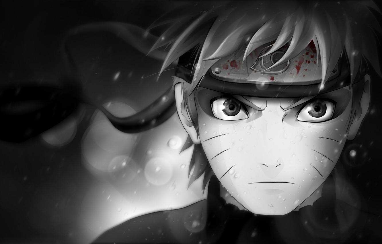 Photo wallpaper look, character, blood, black and white, symbol, headband, Naruto, Naruto