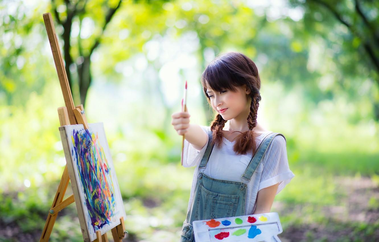 Photo wallpaper girl, mood, paint, Asian