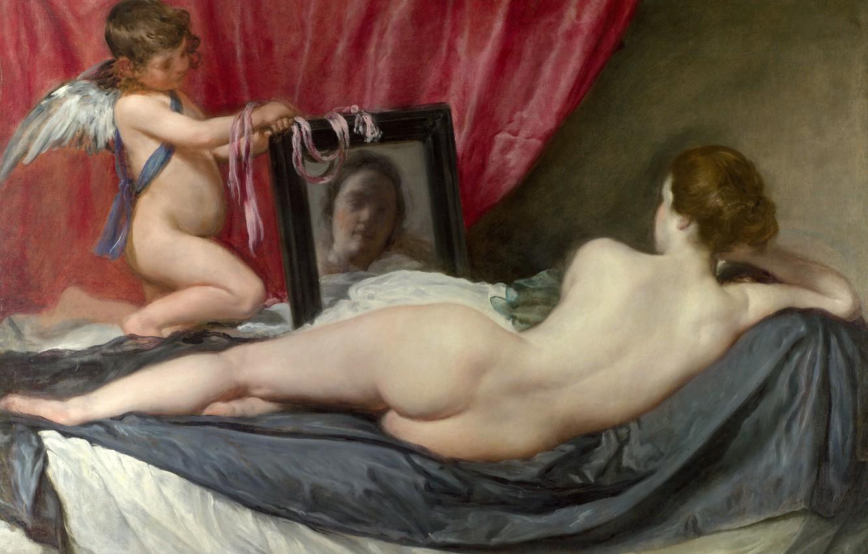 Photo wallpaper erotic, angel, picture, mythology, Diego Velazquez, The Toilet Of Venus