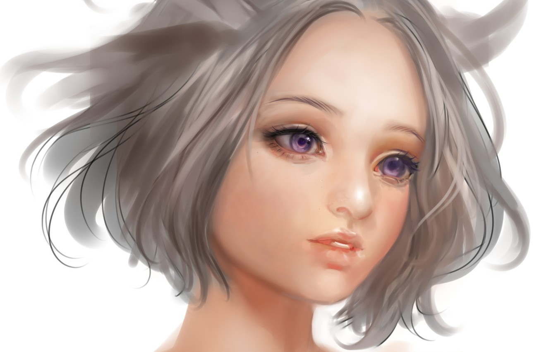 Photo wallpaper eyes, girl, face, anime, art, neck, airspace