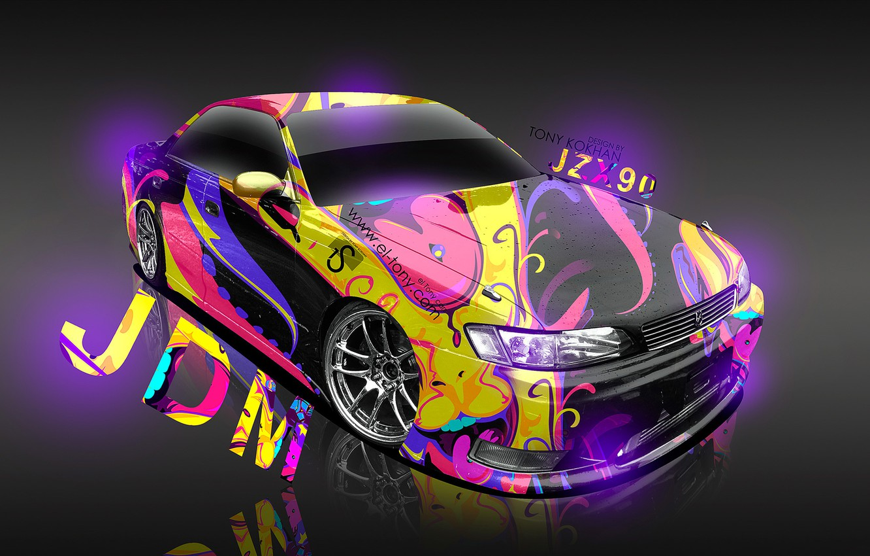 Photo wallpaper Pink, Yellow, Neon, Pink, Toyota, Fantasy, Purple, Photoshop, Design, Yellow, Gray, Violet, Toyota, JDM, el …