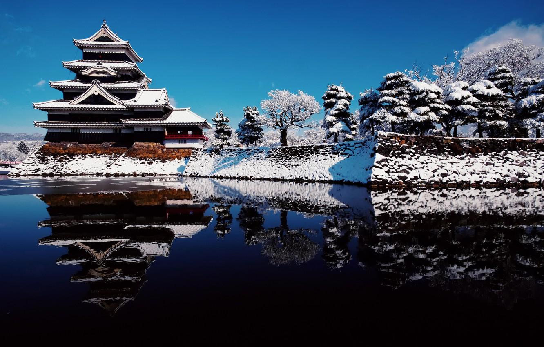 Photo wallpaper winter, the sky, water, snow, reflection, Japan, Nagano Prefecture, the city of Nagano, Matsumoto castle, …
