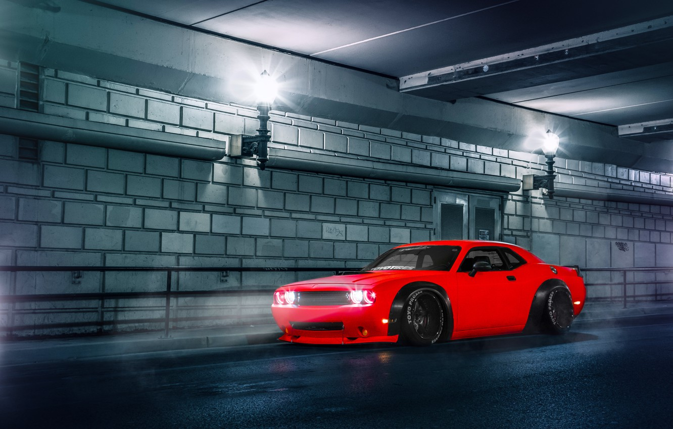 Photo wallpaper Dodge, Challenger, Red, Car, Body, Front, Street, SRT, Stance, Wide