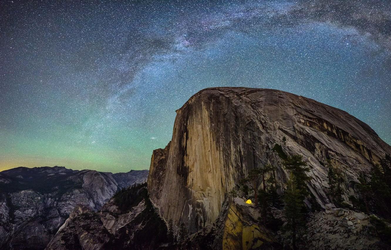 Photo wallpaper the sky, stars, mountains, night, rocks, CA, USA, the milky way, Yosemite National Park