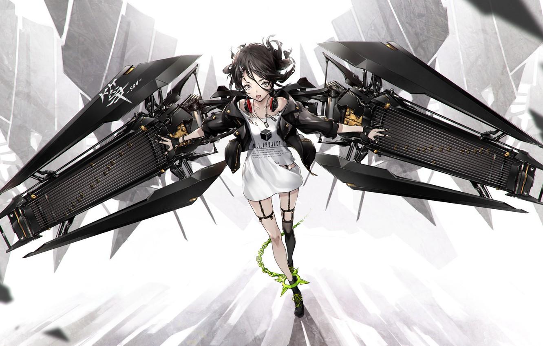 Photo wallpaper girl, wings, anime, headphones, art, chain, yucca-612