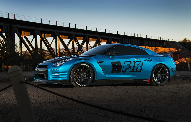 Photo wallpaper car, nissan, blue, gt-r, gtr, autowalls
