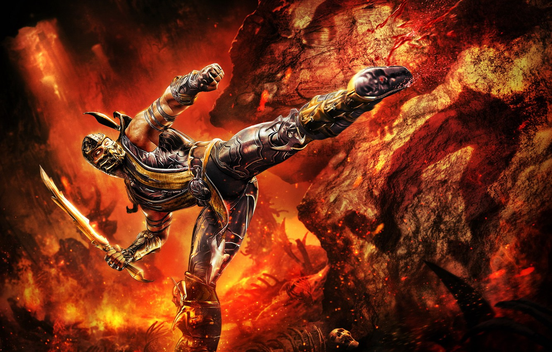 Photo wallpaper fighter, Mortal Kombat, fight, Scorpion