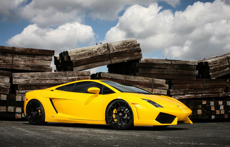 Photo wallpaper Lamborghini, wheels, Gallardo, black, yellow
