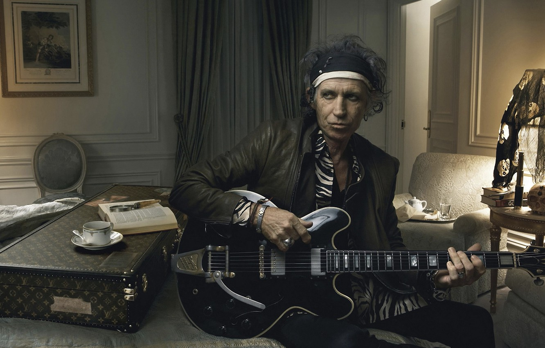 Photo wallpaper guitar, rock, rolling stones, annie leibovitz, keith richards