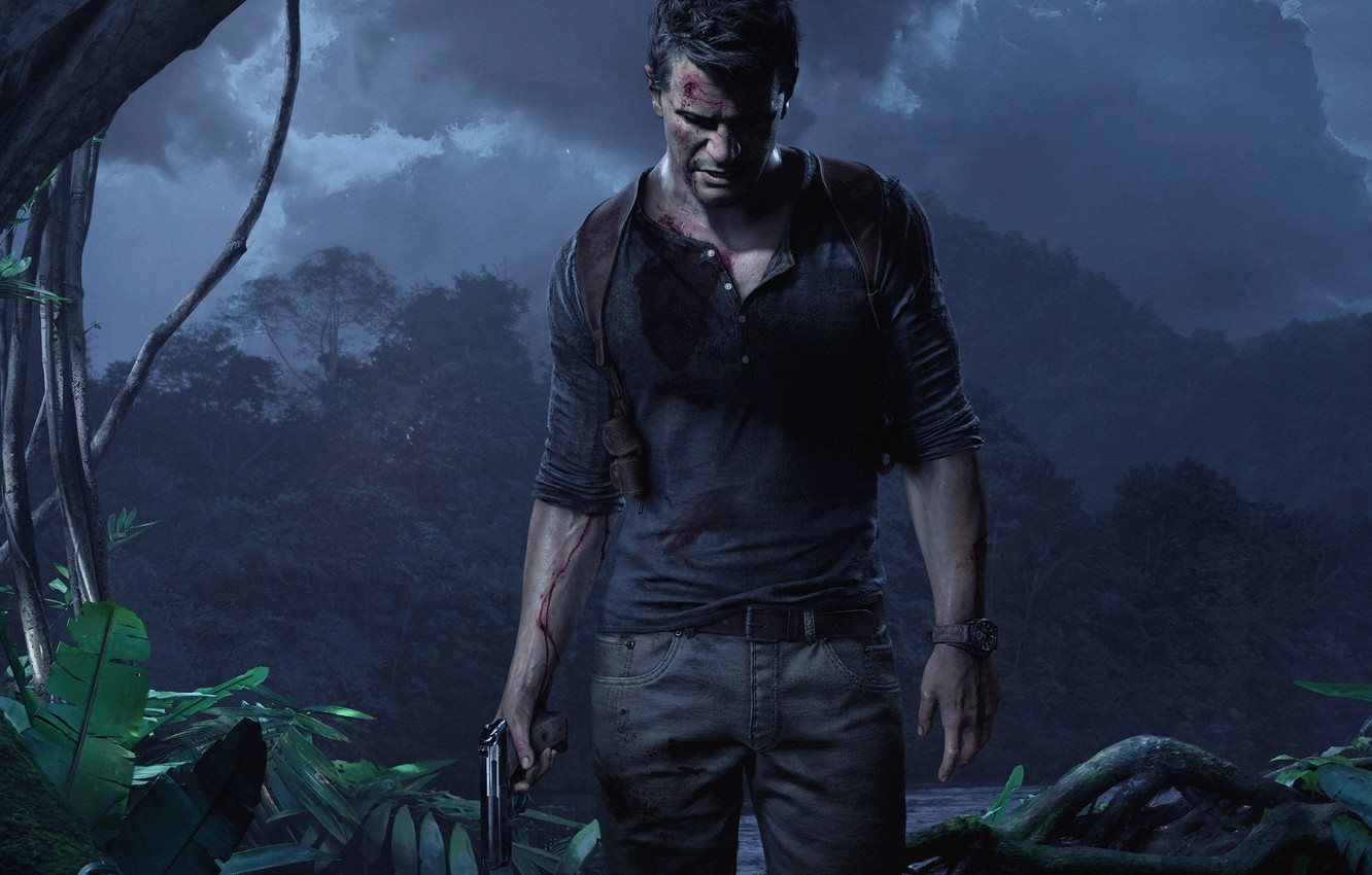 Photo wallpaper The sky, Water, Clouds, Trees, Watch, Light, Blood, Weapons, Jungle, Wounds, Nathan Drake, Uncharted 4: …