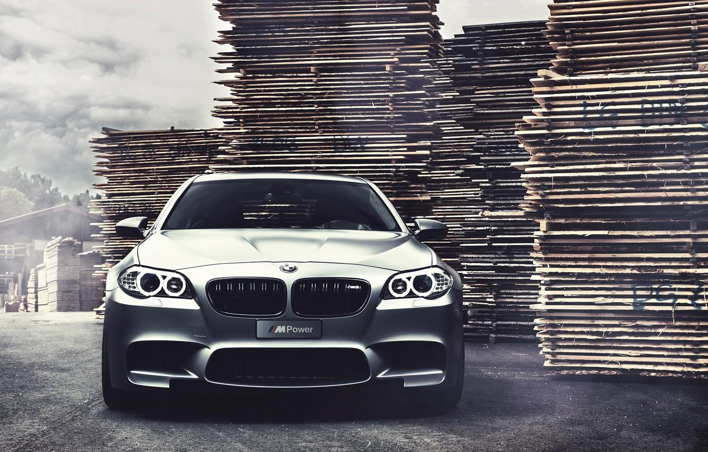 Photo wallpaper bmw, BMW, the front, f10, matte grey, grey matte, running lights